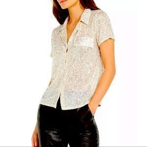 Inc International Concepts sequins top cream XL NWT